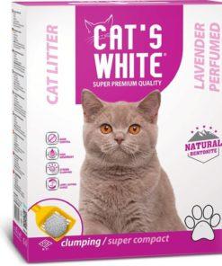 """חול מתגבש לחתול קטס וויט בניחוח לבנדר 10ק""""ג - Cats White Cat Litter LAVENDER"""